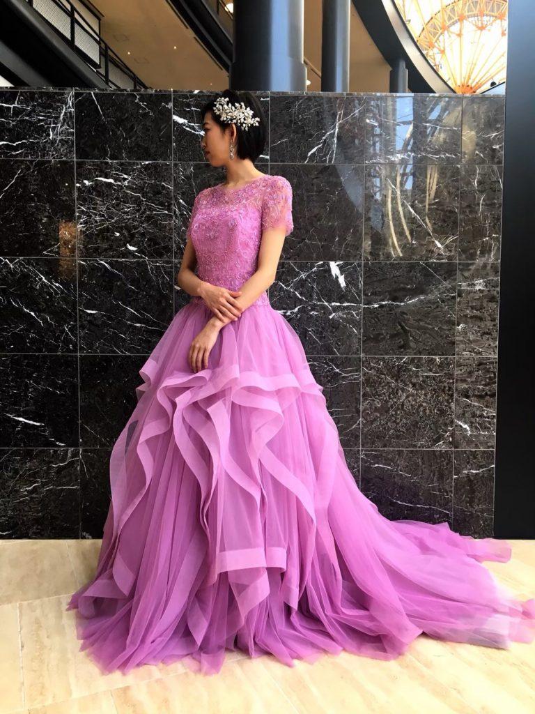 世界中でJUNOにしかない特別なカラードレス~KENNETHPOOL(ケネスプール)大人PINKでエレガントな花嫁様に~(シーホーク店)
