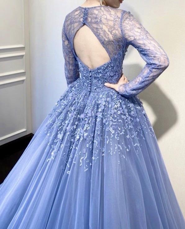 KENNETH POOL(ケネス・プール)のミッドナイトブルーのカラードレス