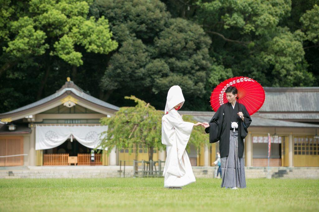 白無垢 綿帽子 JUNO 護国神社 結婚式 福岡