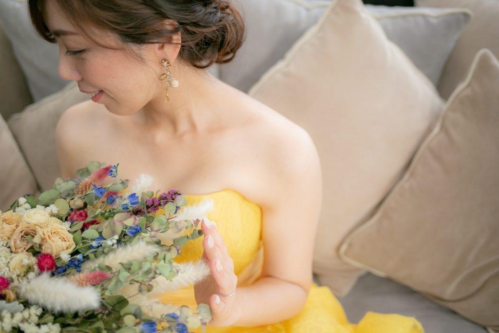 鮮やかなミモザカラーのJUNOオリジナルドレスのご紹介