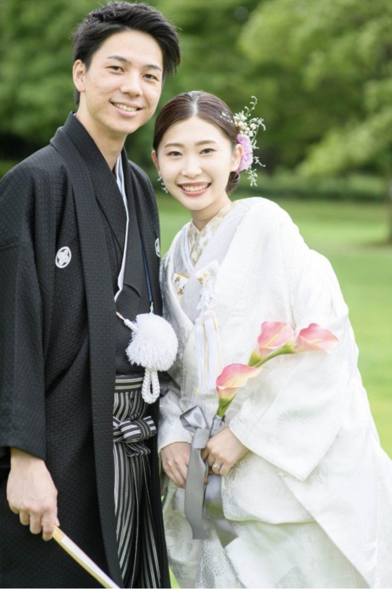 日本古来の花嫁衣裳 白無垢と上品な色掛下のコーディネート