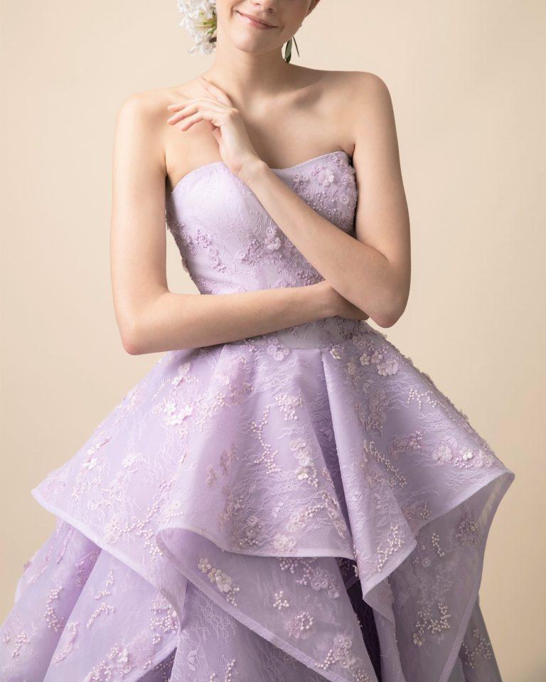日本の花嫁様の為に作られたJUNOオリジナルのラベンダーカラーのドレス